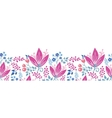 Pink flowers horizontal seamless pattern vector image