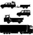 Transportation icons collection - car silhouette vector image vector image