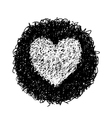 white heart in black circle vector image