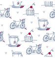 Sketch cups bicycles and cupcakes seamless pattern vector image