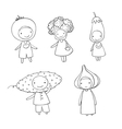 Cute cartoon vegetables vector image