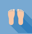 foot sign icon with long shadow vector image