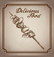 hand drawn kebab delicious food sketch vintage vector image