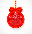 Happy New Year sale festive ball badge with red vector image