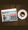 morning newspaper wood background poster vector image