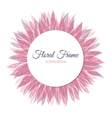 Pink floral round frame vector image