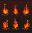 set of red fire bonfire icons vector image