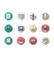 art gallery elements flat round icons set vector image