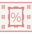 knitted pattern with percent vector image vector image