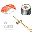Watercolor sushi and roll with chopsticks vector image
