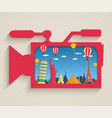 camcorder with tourist attraction buildings vector image