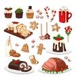 Christmas food set vector image