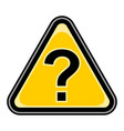 question mark sign triangular sticker vector image