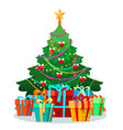 christmas tree with bulbs and gifts vector image
