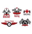 Motorsport symbols for auto racing design vector image vector image