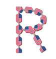 Letter R made of USA flags in form of candies vector image vector image