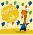 cute little giraffe in school uniform with vector image