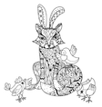Hand drawn doodle outline fox with chiken vector image