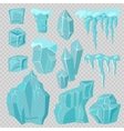 Ice caps snowdrifts and icicles elements vector image
