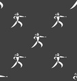 Karate kick icon sign Seamless pattern on a gray vector image