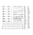 Large set of all music signs keys tonality and vector image