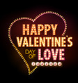 neon sign happy valentines day typography vector image