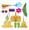 songkran thailand festival celebration icons vector image
