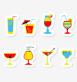 stickers set with alcohol cocktails flat cartoon vector image