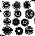grungy rubber stamps black set vector image vector image