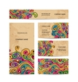 Business cards design with grunge wave pattern vector image