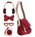 Handbag and other red objects vector image