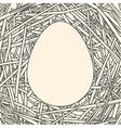 Line art of egg on straw background vector image