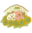 chicken and pig on the farm vector image vector image