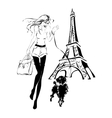 fashion woman with little dog near Eiffel Tower vector image