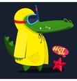 cool cute monster crocodiles fnd starfish vector image