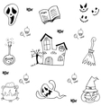 Doodle of castle halloween and element vector image