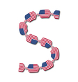 Letter S made of USA flags in form of candies vector image vector image