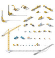 construction machinery and equipment lowpoly vector image