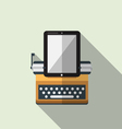 Flat icon of typewriter combine tablet vector image