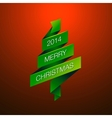 Merry Christmas with fur-tree on red background vector image