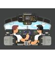 Pilots in cockpit flat design vector image