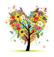 Summer floral tree heart shape vector image