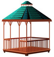 wooden pavilion with green roof vector image