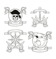 cartoon pirate tattoo design vector image
