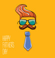 happy fathers day cartoon greeting card vector image