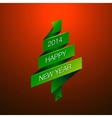 Happy New Year with fur-tree on red background vector image