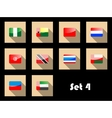 Flat icons set of international flags vector image vector image