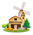 A playful pig outside the wooden barnhouse with a vector image