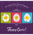 Easter card painted with rabbit egg and hen vector image