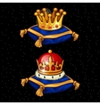 Two Royal crown on the pads heirloom vector image